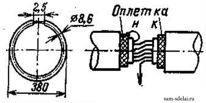 Рис.3. Конструкция рамки и порядок выводов металлоискателя цветных металлов.