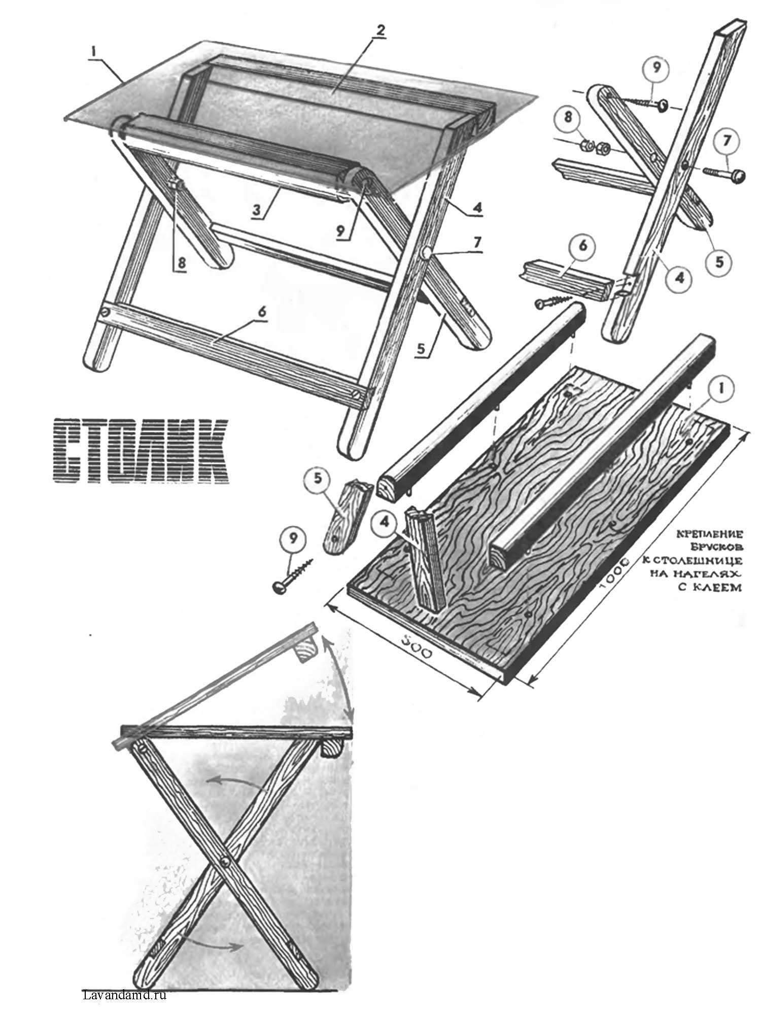 Складные стол деревянные своими руками схема