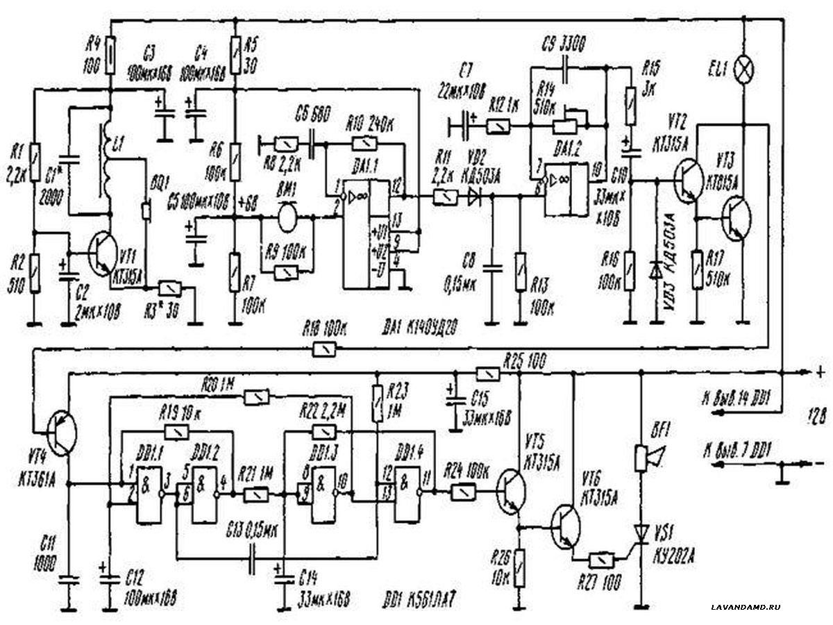 Схема устройства показана на рисунке.  Генератор излучателя построен по схеме емкостной трехточки.